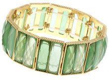 1928 Jewelry-Bracciale elastico, colore: oro, tonalità di verde, lunghezza 17 cm