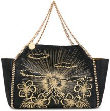 Stella McCartney - large embroidered Falabella shoulder bag - women - Artificial Leather - OS - Nero