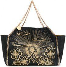 Stella McCartney - large embroidered Falabella shoulder bag - women - Artificial Leather - OS - BLACK