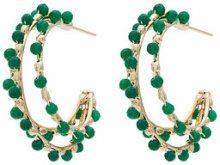 Rosantica - Angola bead triple hoop earrings - women - Brass/quartz - OS - METALLIC