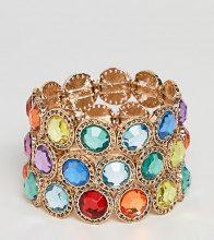 Esclusiva ASOS DESIGN Curve - Confezione da 3 braccialetti oro con gioielli multicolori - Oro