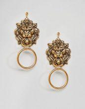 Regal Rose - Orecchini appariscenti a batacchio con testa di leone placcati oro - Oro