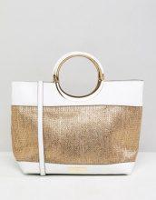 Carvela - Maxi borsa in rafia con manico a cerchio - Oro