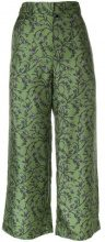 Christian Wijnants - Pantaloni crop - women - Silk - 36 - GREEN
