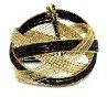 Bracciale rigida fantasia in metallo dorato e Rocaille, Nero–Gioiello donna
