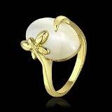 Anello anniversario Placcato oro giallo 18K carati Gioiello di alta qualità Opale Donna Giallo Sévignia-56 Fiore Misura 16