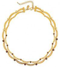 Cristalina Collana placcata oro 18 k, con cristalli, diametro: Cognac, lunghezza 45 cm