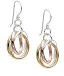 Silverly Orecchini Donna Argento 925 Placcati Oro Rosa Giallo 18K 3 Tre Anelli