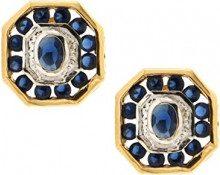 Bijoux pour tous Donna 14-k-(585) placcato oro Ovale blu Ossido di zircone, colore: Blu