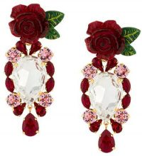 Dolce & Gabbana - rose and crystal drop earrings - women - Crystal/Resin/Brass - OS - RED