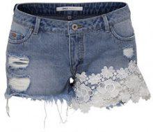 ONLY Carmen Reg Lace Denim Shorts Women Blue