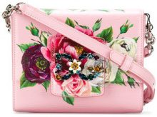 Dolce & Gabbana - floral rhinestone logo shoulder bag - women - Calf Leather - One Size - PINK & PURPLE