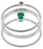 Wouters & Hendrix Gold - Set di tre anelli 'Emerald & Diamond' - women - Diamond/18kt White Gold/Emerald - 50, 52, 54 - METALLIC