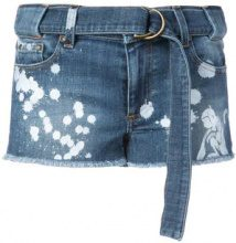 Red Valentino - paint splatter denim shorts - women - Cotton/Spandex/Elastane - 26, 27, 28, 25 - BLUE