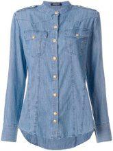 Balmain - collarless denim shirt - women - Cotton - 38 - BLUE