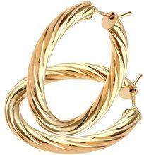 Citerna Orecchini a Cerchio da Donna, Oro Giallo, 9 Carati
