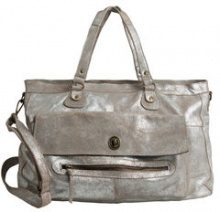 PIECES Leather Travel Bag Women Silver