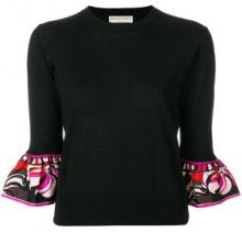 Emilio Pucci - frilled-sleeve knitted top - women - Virgin Wool/Silk - XS, S, M, L - BLACK
