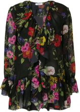 Blugirl - floral ruffled wrap blouse - women - Polyester - 44, 46, 42 - Nero