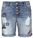 Rock Angel Bermuda di jeans da donna | Pantaloncini bermuda da donna con toppe - Per un'estate chic