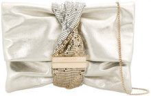 Jimmy Choo - Borsa Clutch 'Chandra' - women - Silk/Viscose/Brass/Goat Suede - One Size - GREY