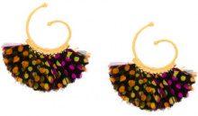 Gas Bijoux - Buzios hoop earrings - women - 24kt Gold Plate/Feather - OS - Multicolore