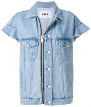 MSGM - short sleeve denim jacket - women - Cotton/Polyester - 38, 40, 42 - BLUE