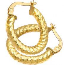 Citerna Orecchini a Cerchio da Donna, Oro Giallo 375/1000 9 Carati, Vetro