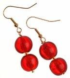 The Jewellery Factory - Orecchini pendenti placcati in oro, con doppia perlina stile vetro di Murano, colore: rosso