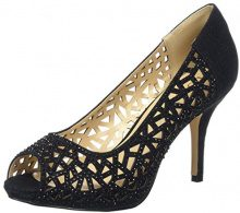 Lotus 50847, Peep Toe Donna, Nero (Nero (Black/Diamante Blk)), 39