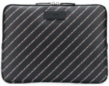 - Karl Lagerfeld - striped logo laptop case - women - PVC/Calf Leather - Taglia Unica - Nero