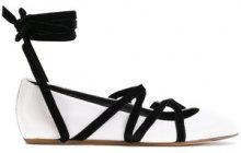 Lanvin - Ballerina con lacci alla caviglia - women - Leather/Velvet/rubber - 36, 37, 38, 38.5, 39, 39.5, 40 - WHITE