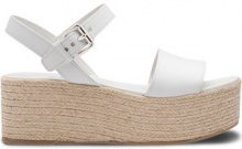 Prada - raffia platform sandals - women - Calf Leather/metal/Raffia/rubber - 35, 35.5, 36.5, 37, 37.5, 38, 38.5, 39.5, 40 - WHITE
