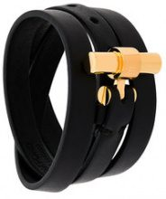 Tom Ford - Bracciale a doppio giro - women - Leather/Brass - One Size - Nero
