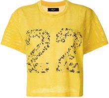 Amiri - T-shirt crop stampata - women - Cotton/Spandex/Elastane - S - YELLOW & ORANGE