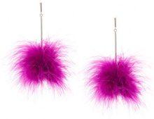 Tuleste - pompom drop earrings - women - Mink Fur - OS - Rosa & viola