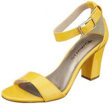 Tamaris 28018, Sandali con Cinturino alla Caviglia Donna, Giallo (Yellow Patent), 41 EU