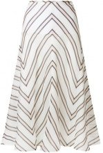 Fendi - Gonna midi svasata - women - Cotton/Silk - 42, 40, 44 - WHITE