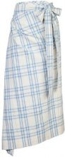 Rosie Assoulin - draped checked skirt - women - Cotone - S - WHITE