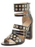 Sopily - Scarpe da Moda sandali Stivaletti - Scarponcini Aperto alla caviglia donna multi-briglia Perforato metallico Tacco a blocco tacco alto 9.5 CM - Nero