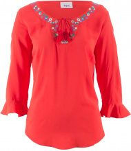 Blusa ricamata con manica a 3/4 (Rosso) - bpc bonprix collection