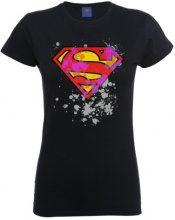 DC Comics - T-shirt collo tondo, Donna, Nero (Black), S