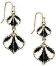 1928 Jewelry-Orecchini color oro, bianco e nero, con smalto Orecchini pendenti