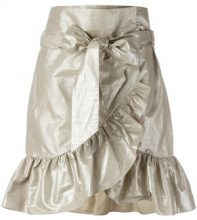Isabel Marant - lamé ruffled skirt - women - Cotton/Linen/Flax - 34, 36, 38, 40, 42 - METALLIC