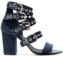 Via Roma 15 - Sandali con cinturini con fibbie - women - Leather/Velvet - 36, 37, 38, 39, 40, 41 - BLUE