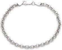 Adara - Braccialetto a catena rolò in argento rodiato, 19,5 cm