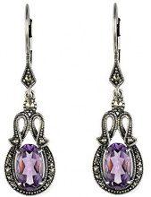 Esse Marcasite Donna 925 argento Ovale viola Ametista Marcasite FINEEARRING