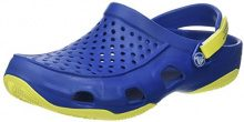 Crocs Swiftwater Deck Clog Men, Zoccoli Uomo, Blu (Blue Jean/Tennis Ball Green), 46/47 EU