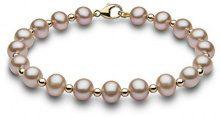 Kimura Pearls Donna 9 carati oro giallo Rotonda Semisferica perla cinesa da coltivazione rosa Perla FINENECKLACEBRACELETANKLET