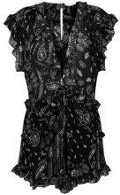 Iro - printed ruffle playsuit - women - Viscose - 38 - Nero